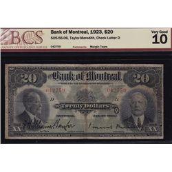 1923 Bank of Montreal $20