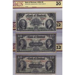 Lot of Three 1938 Bank of Montreal Notes