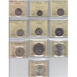World Coins - Europe - Lot of 10 ICCS Graded Coins