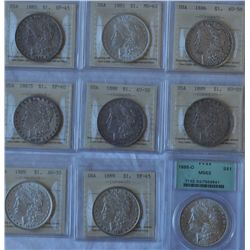 USA, Lot of 9 Graded Silver Dollar Coins
