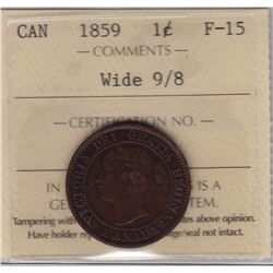 1859 One Cent Wide 9/8