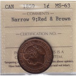 1859 One Cent Narrow 9
