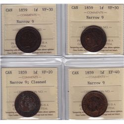1859 One Cents - Narrow 9's - Lot of 4 ICCS Graded