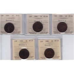 ICCS Graded One Cents - Lot of 5