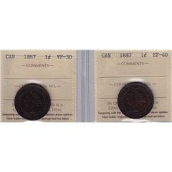 ICCS Graded 1887 One Cents - Lot of 2