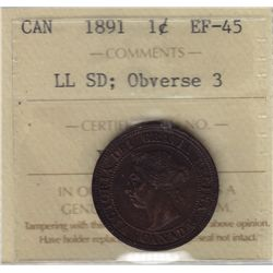 1891 One Cent Obverse 3