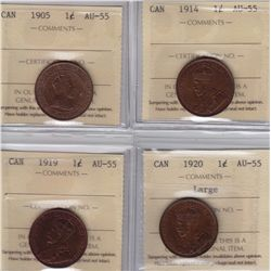 ICCS Graded One Cents - Lot of 4