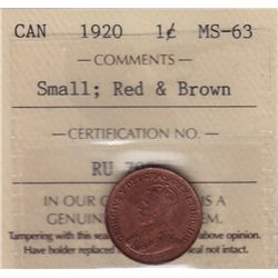 1920 One Cent, Small
