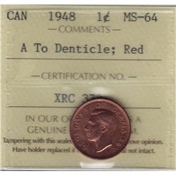1948 One Cent, A To Denticle