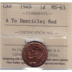 1949 One Cent, A To Denticle