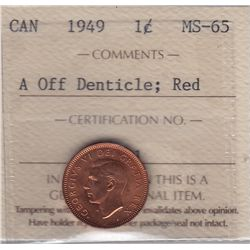 1949 One Cent, A Off Denticle