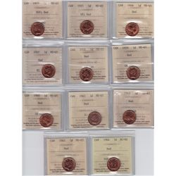Lot of Eleven ICCS Graded One Cents