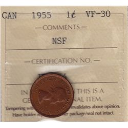 1955 One Cent, No Shoulder Fold