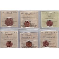 Lot of Six ICCS Graded One Cents