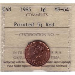 1985 One Cent Pointed 5