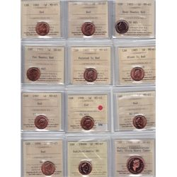 Lot of Fourty-Nine ICCS Graded One Cent