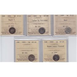 Lot of Five ICCS Graded Five Cents