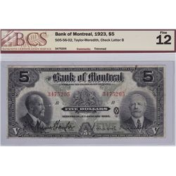 1923 Bank of Montreal $5