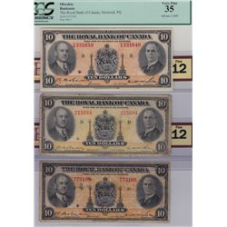 Lot of Three Royal Bank of Canada $10 Banknotes