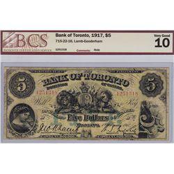1917 Bank of Toronto $5