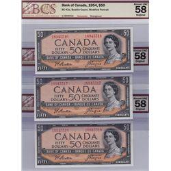 Lot of 5 Consecutive 1954 Bank of Canada $50