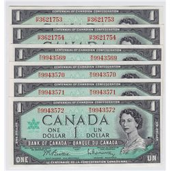 Lot of 6 Bank of Canada $1 Notes