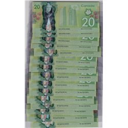 Lot of Fifteen 2012 Bank of Canada $20 Bank Notes