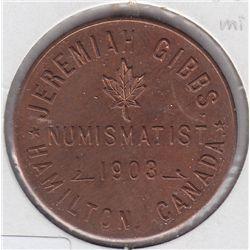 Numismatist Card. Jeremiah Gibbs/ (Maple Leaf)/ Numismatist/ 1903/ Hamilton, Canada. Rev: Rare Coins