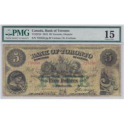 1912 Bank of Toronto $5