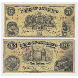 Lot of Two Bank of Toronto Banknotes