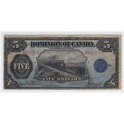 1917 Dominion of Canada $5