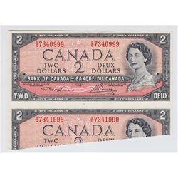 1954 Bank of Canada $2 Cut & Fold Error