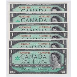 Lot of 6 Consecutive 1967 Bank of Canada $1 Replacement Notes