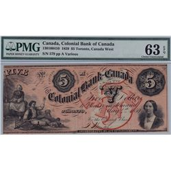 1859 Colonial Bank of Canada $5