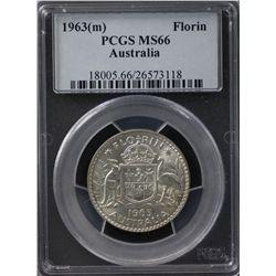 1963(m) Florin PCGS MS66
