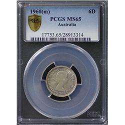1960(m) Sixpence PCGS MS65