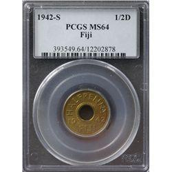1942-S Fiji ½ Penny PCGS MS64