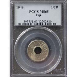 1949 Fiji ½ Penny PCGS MS65