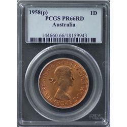 1958 Perth Proof Penny PCGS PR66RD