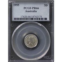 1955 Threepence Proof PCGS PR66