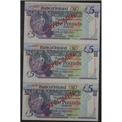 Bank of Ireland Specimen 5 Pound Notes Block of 3