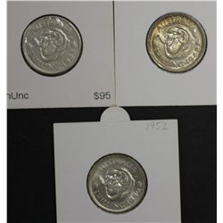 Shillings 1948, 1952 & 1953 Choice Uncirculated