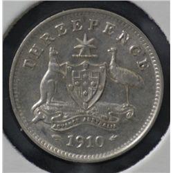 Threepences 1910, 1911, 1912 Extremely Fine, 1914 & 1915 nearly VF