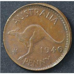 Australia 1946 Penny , damaged but major lip
