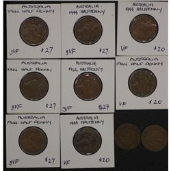 Halfpennies 1930 (2), 1944 (8) VF or better, ret 200