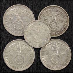 Germany 5 Marks,(4), 2 Marks 1930's