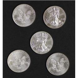 USA one ounce Silver Eagles x 5