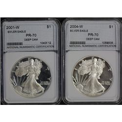 Silver Eagles 2001 and 2004 NNC Certified PR 70