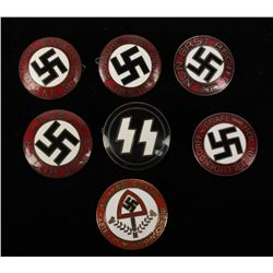 (7) German WWII Enameled Party Badges