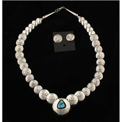 Silver & Turquoise Necklace and Earring Set